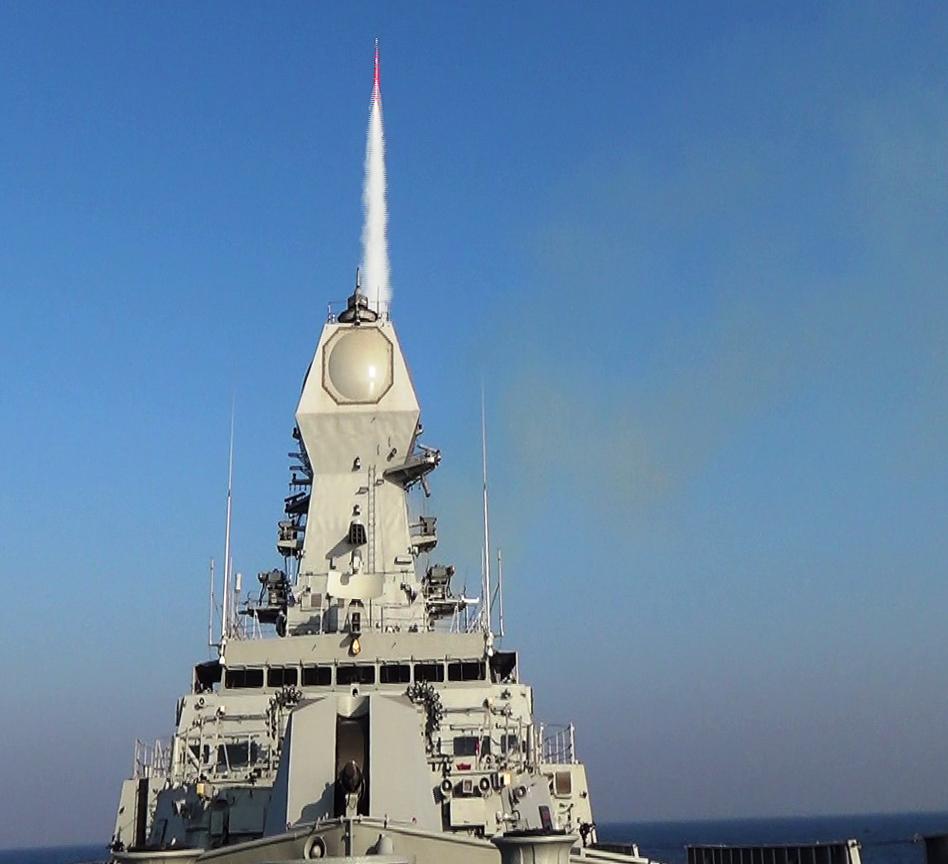 BARAK 8 - INS_Kolkata_firing_a_Long-Range_Surface-to-Air_Missile